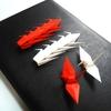 新作「おめでとうございます、お祝いの日の紅白折り鶴」 が完成いたしました