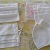 白無地のプリーツマスクを手縫いで作ってみた。針が通らなくて大変です。