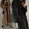 韓国ファッション レディース ロングコート 袖ベルト シングルブレスト アウター ロング丈コート