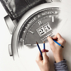 高級時計の超精密な鉛筆画を描く女性アーティストJulie Kraulis