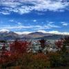 北アルプスが雪化粧して、三段紅葉を楽しめるようになったよ!(長野県大町市より)