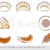【aiデータ有り】餃子のイラスト素材、レシピに、チラシに、色々使える便利素材!!