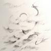 鉛筆画 雲と龍 動画あり
