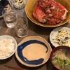 ごはん、金目鯛の煮付け、白菜のごまのり和え、ブロッコリーと切り干しの味噌汁