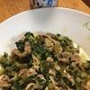 大根の葉っぱと豚バラの甜麺醤炒めと塩辛が朝ご飯💁♀️