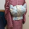 【着物コーディネート帖】格子柄の銘仙着物にコットン生地のリバーシブル六寸帯を合わせてみる。