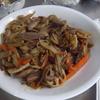 幸運な病のレシピ( 1906 )朝:ローストポークのきんぴら、魚2種、手羽先醤油つけ、味噌汁、マユのご飯
