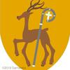 鹿の紋章。杖と。