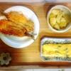 豚肉野菜炒め、鰯フライ、玉子焼き、粉吹き芋