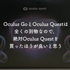 Oculus GoとOculus Questは全くの別物なので、絶対Oculus Questを買ったほうが良いと思う
