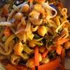 切干し大根とラディッシュの葉とひよこ豆と椎茸の炒め煮、鯖大根、きゅうりと若布の酢の物、隠元の胡麻和え