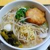 【今日の食卓】韓国の激辛ラーメンのスープを使わず、タイテイストのスープにした。薩摩揚げや野沢菜(どちらもタイに似たものがある)も入っていて美味しい。 Ramen with Thai taste soup. #食探三昧 #ラーメン