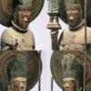 法隆寺の救世観音像と四天王像の冠にある三日月と宝珠