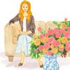 ソファに座る女性とバラ 水彩イラスト