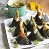 """今日は""""春野菜の天ぷらで!ニョキニョキおかずおにぎり""""と♪わかめとたまごのスープ"""