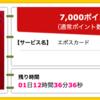 【ハピタス】 エポスカードが期間限定7,000pt(7,000円)! 年会費無料! ショッピング条件なし! さらに2,000円分のポイントプレゼントも♪