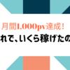 3月【月間1,000pv】達成!アドセンス、いくら稼げた?