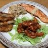 鮭のムニエル 七味マヨソース・家にあるものでエビチリ・野菜たっぷりチャプチェ ・炊飯器で焼き芋