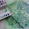 透明水彩でエンブレム風お馬さんページの塗り過程です☆眠れる森より