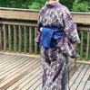 お庭で満開の、紫陽花のイメージでの、着物コーデ