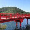「赤城神社(群馬県)」晴天下、大沼に映る美しい神社です。