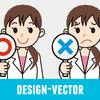 医師・薬剤師(女性)のOK・NGのイラスト素材・商用無料(PNG)