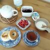 朝ごはん。成城石井のパンでちょっと贅沢をした。