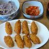 今日の食べ物 朝食に牡蠣フライ