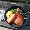 【新垣家】インパクトあるサイズ感のラフテーを丼にドン(中区本通)