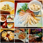 和の春野菜|ウドの穂先の天ぷらとレンコン入り鶏ゴマ団子と小さなおつまみセット