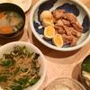 鶏モモ肉と卵の甘酢煮(レシピ)、ピーマンとしめじの甘辛炒め