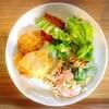 ささみフライ、マカロニサラダ、野菜炒め