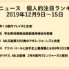 野球ニュース 個人的注目ランキング 2019年12月9日~15日