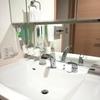 洗面所は掃除しやすく浮かせてます! と子供の初試合。