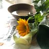 アトリエで、お花の水切り