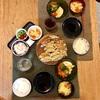 ごはん、餃子、豆腐の中華サラダ、人参の卵とじスープ