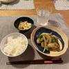 ごはん、牡蠣と野菜の炒め物、コールスロー