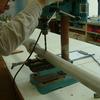 カーブミラー設置準備 支柱を作る