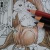 森ラプより 水彩+色鉛筆で木を塗る簡易メイキング風