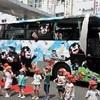 くまモン、七城観光大型バスにラッピング