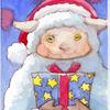 水彩画「羊のプレゼント」
