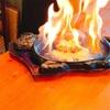 ファームレストランウエムラで、炎のハンバーグを食べる。