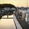 和田川から見る夕日