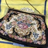 和装小物(バッグ) 黒・アンティーク プチポワン刺繍
