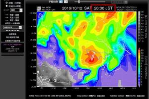 多摩川の水位・GPV気象予報(SCW)| 台風19号
