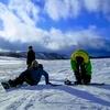 タフマンと青い空、白い雲、白い雪@ダボスの丘