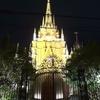 大聖堂の前で大胆なキス