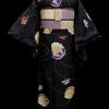 黒地薔薇染手毬紬×薄紫モダン市松お仕立て上がり名古屋帯