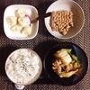 豚肉と白菜の炒め物、小粒納豆、バナナヨーグルト。
