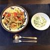 アスパラとミニトマトのレバーソースパスタ・豆腐と水菜のサラダ